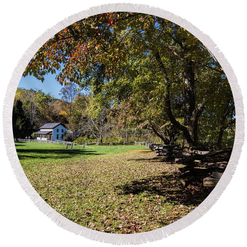 Cades Cove Round Beach Towel featuring the photograph Cades Cove House And Fall Colors by Kathy Clark