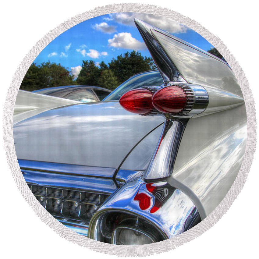 Hdr Round Beach Towel featuring the photograph Cadillac Fin by Lee Nichols