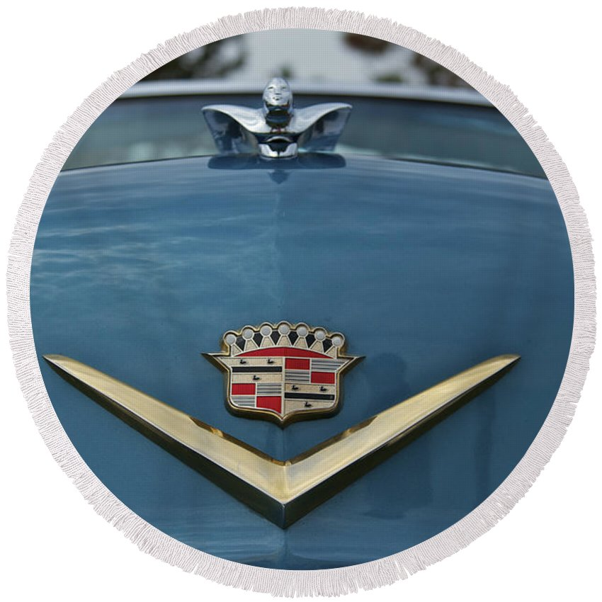 Antique Round Beach Towel featuring the photograph Cadillac by Jack R Perry