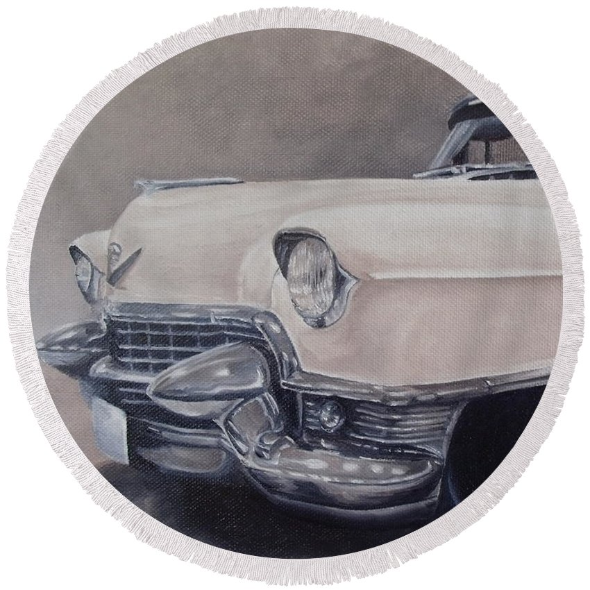 Classic Round Beach Towel featuring the painting Cadillac Study by Pauline Sharp