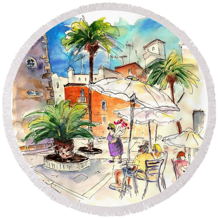 Travel Round Beach Towel featuring the painting Cadiz Spain 13 by Miki De Goodaboom