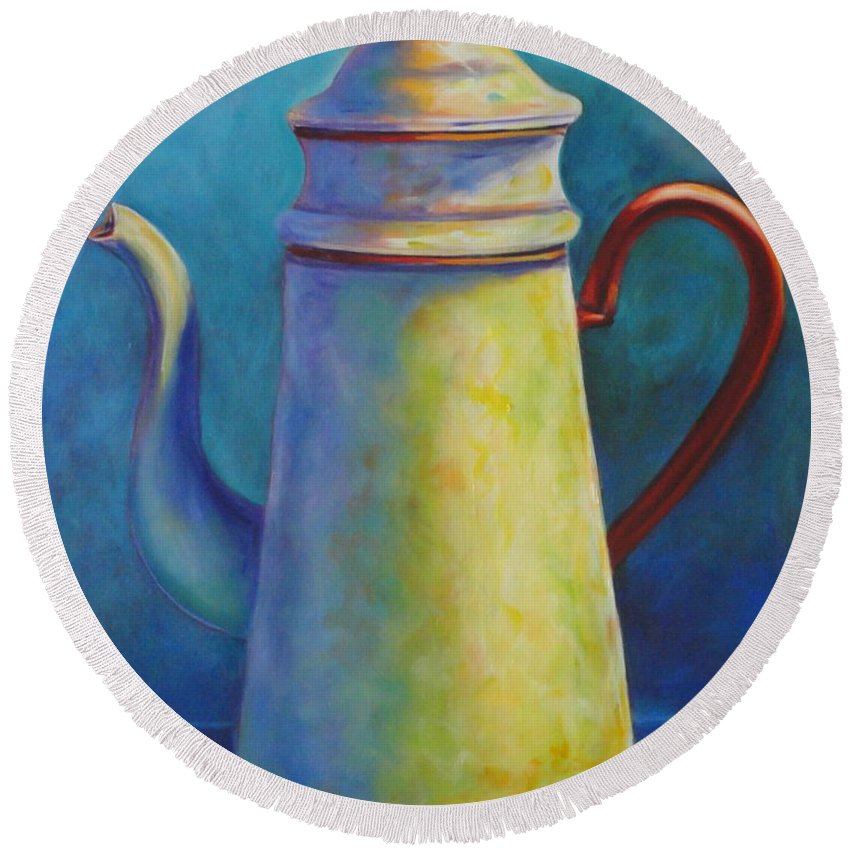 Coffee Round Beach Towel featuring the painting Cafe Au Lait by Shannon Grissom