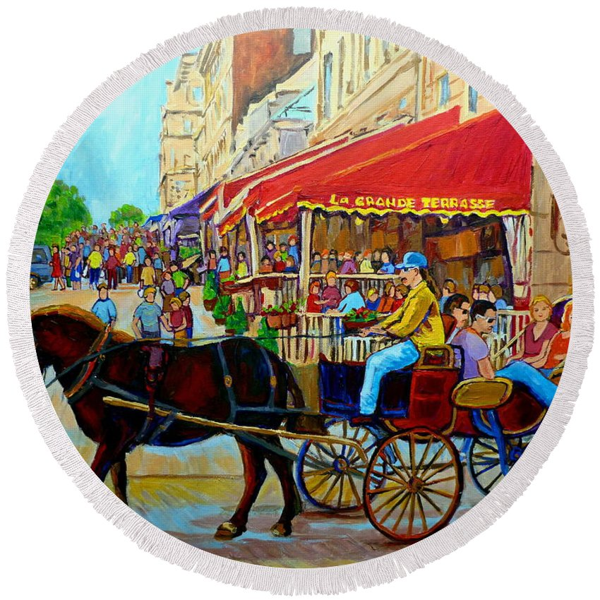 Cafe La Grande Terrasse Round Beach Towel featuring the painting Cafe La Grande Terrasse by Carole Spandau