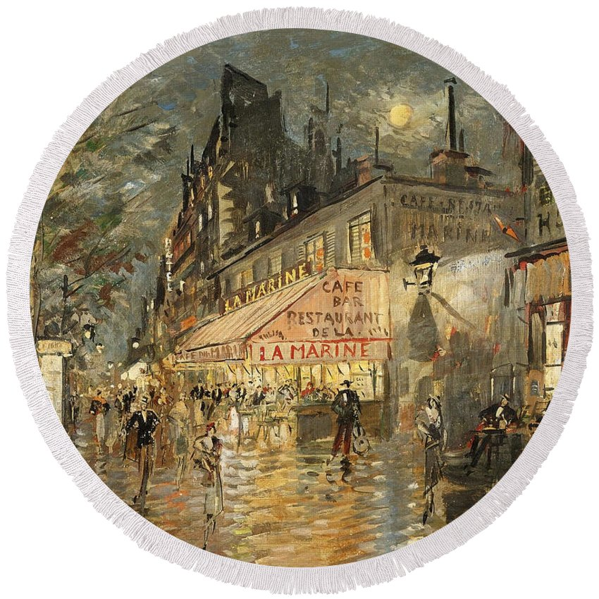 Konstantin Korovin Round Beach Towel featuring the painting Cafe La Marin. Paris by Konstantin Korovin