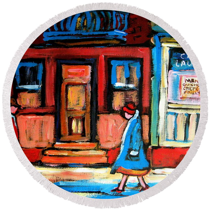 Cafe Laurier Montreal Round Beach Towel featuring the painting Cafe Laurier Montreal by Carole Spandau