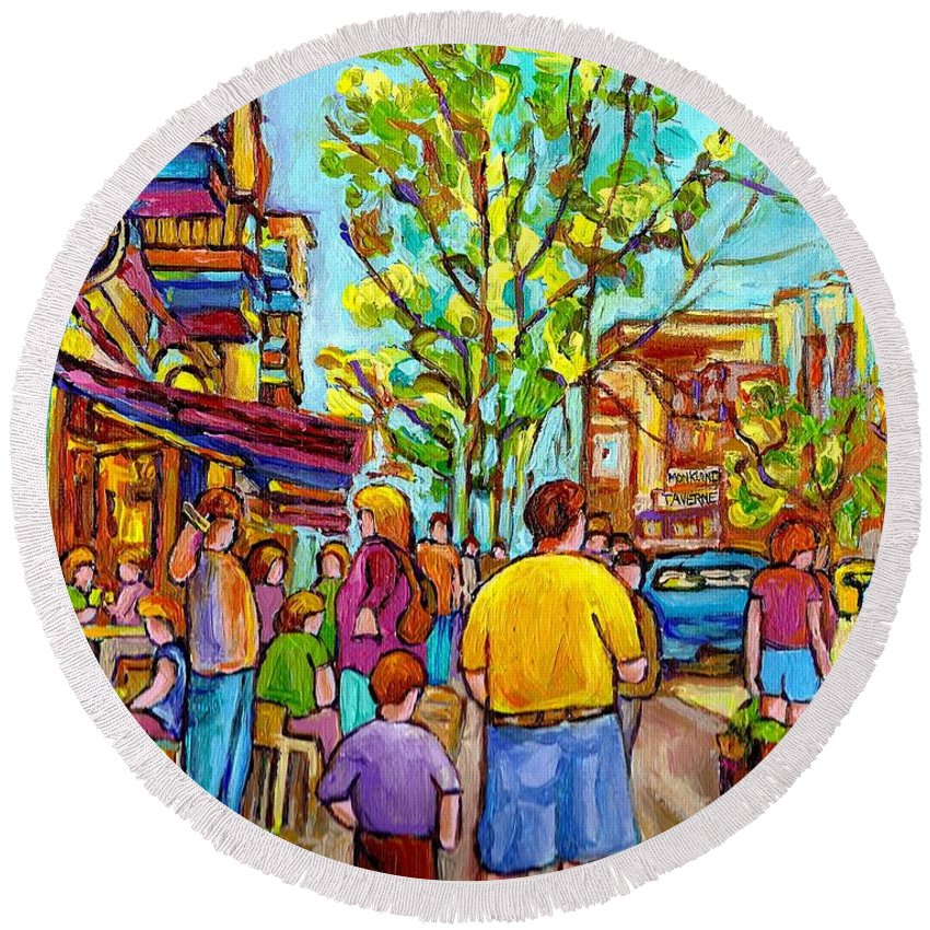 Montreal Streetscene Round Beach Towel featuring the painting Cafes In Springtime by Carole Spandau