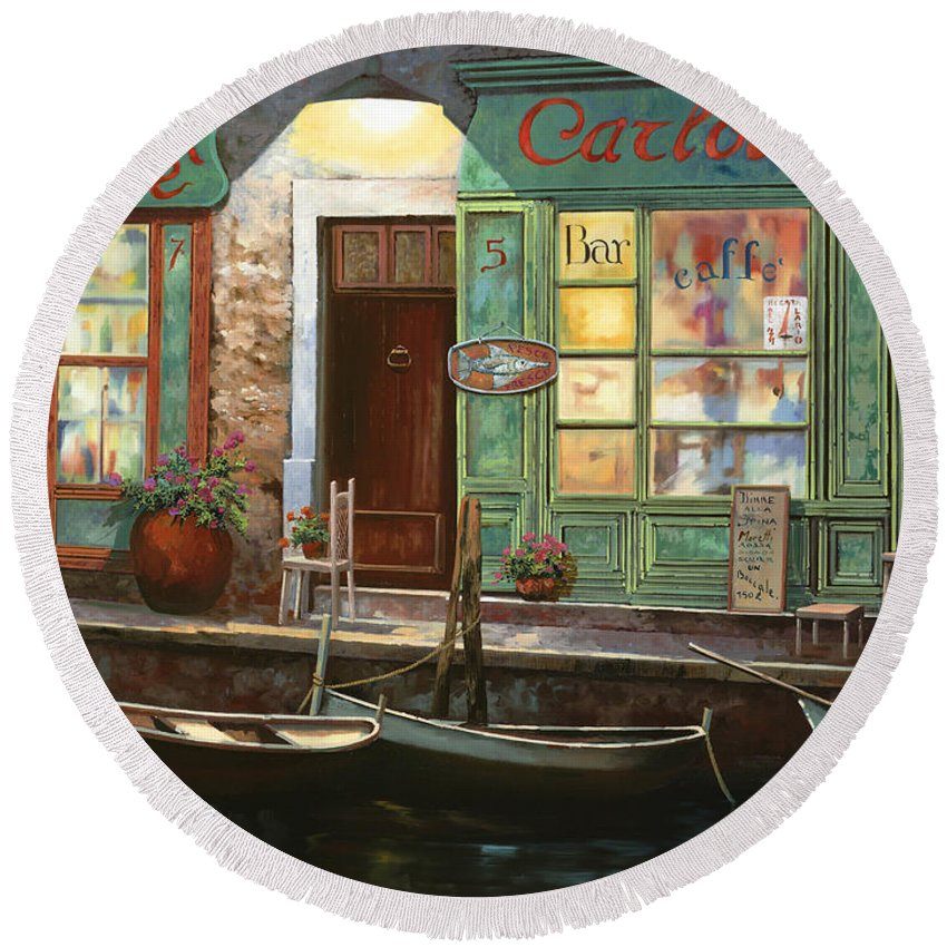 Venice Round Beach Towel featuring the painting caffe Carlotta by Guido Borelli