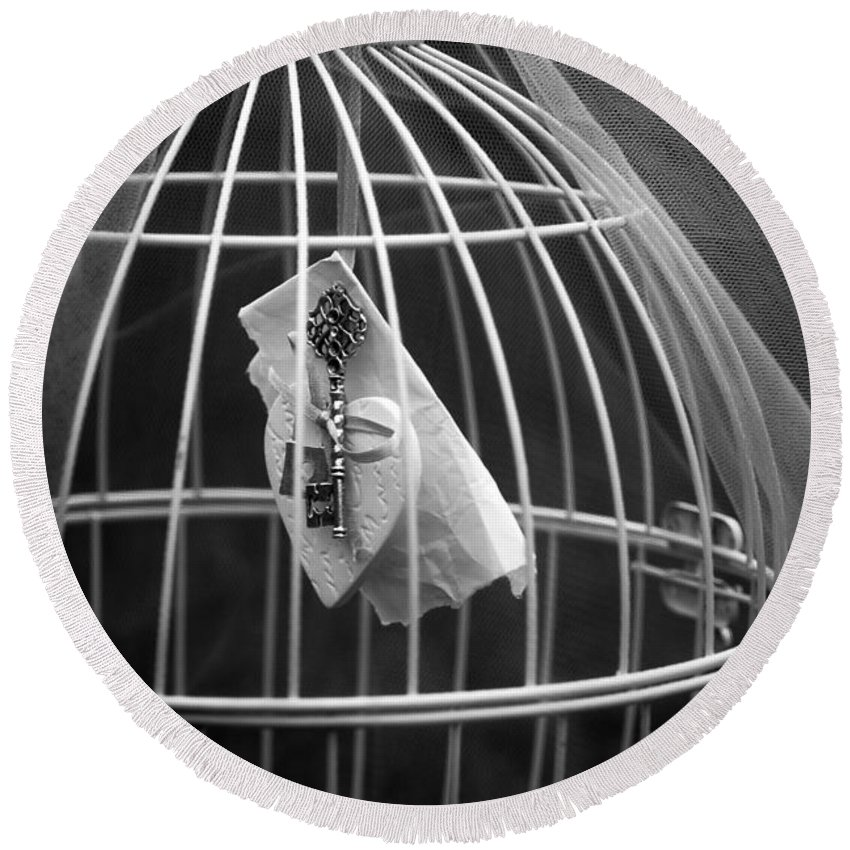 Art Round Beach Towel featuring the photograph Cage by Svetlana Sewell
