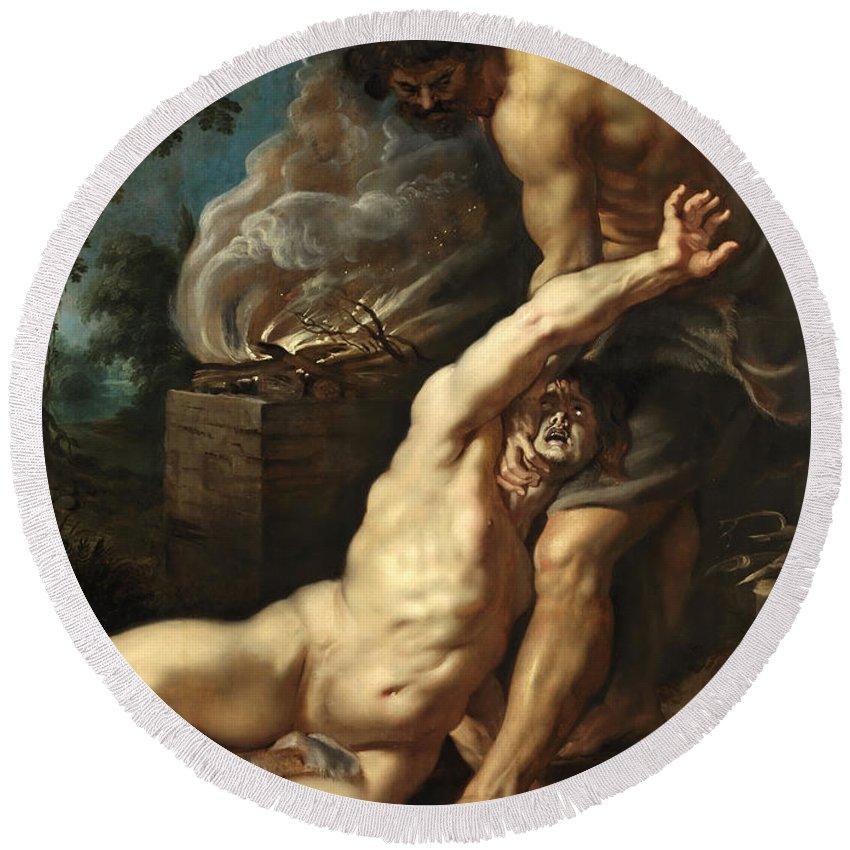 Peter Paul Rubens Round Beach Towel featuring the painting Cain Slaying Abel by Peter Paul Rubens