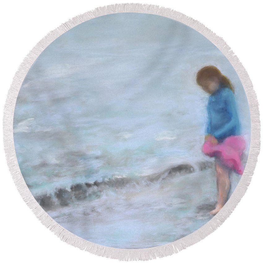 Beach Round Beach Towel featuring the painting Cait At Dugan's Cove by Vicki Baun Barry