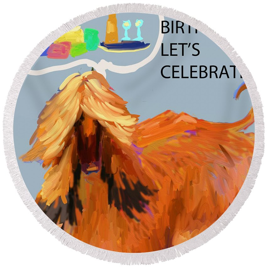 Ipad Finger Painting Round Beach Towel featuring the painting Cake And Wine by Terry Chacon