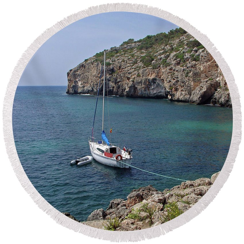 Europe Round Beach Towel featuring the photograph Cales Coves by Rod Johnson