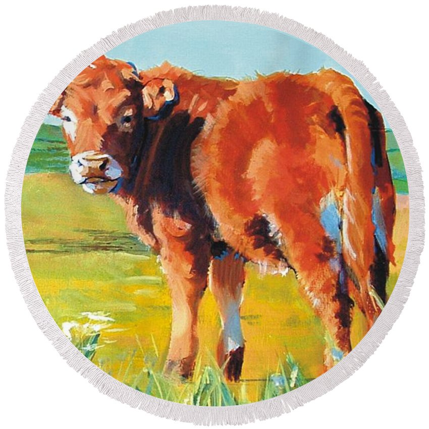 Calf Round Beach Towel featuring the painting Calf by Mike Jory