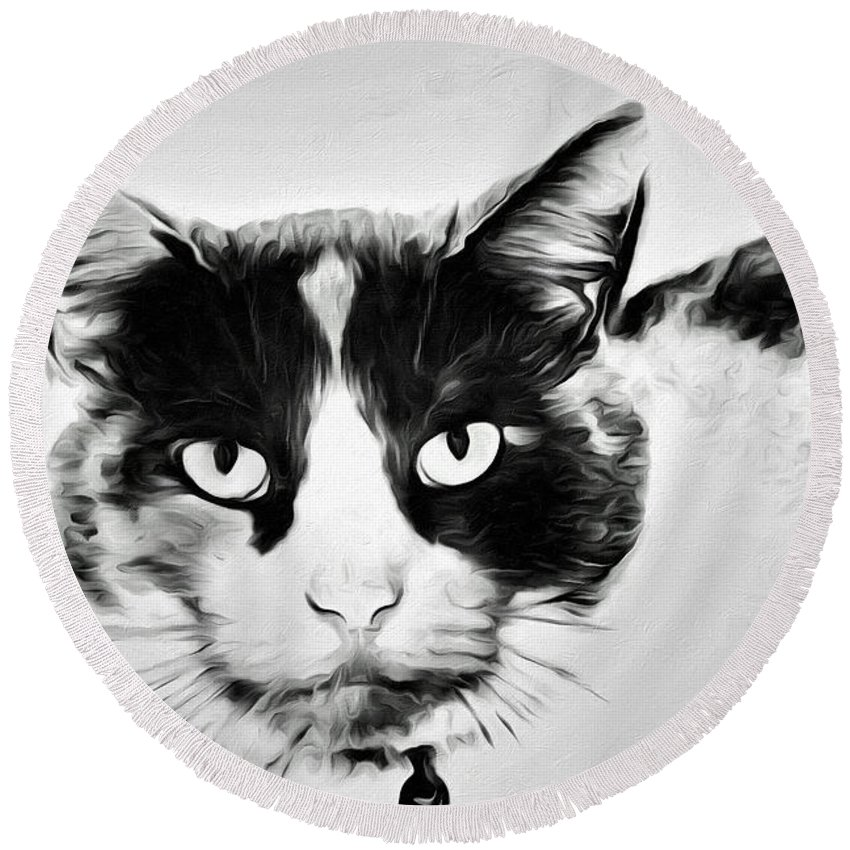 Cat Portrait Round Beach Towel featuring the photograph Calico Kitty by Alice Gipson