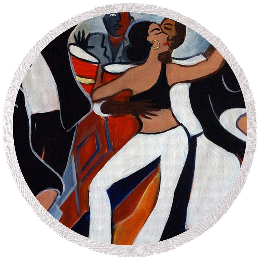 Salsa Round Beach Towel featuring the painting Caliente 7 by Valerie Vescovi