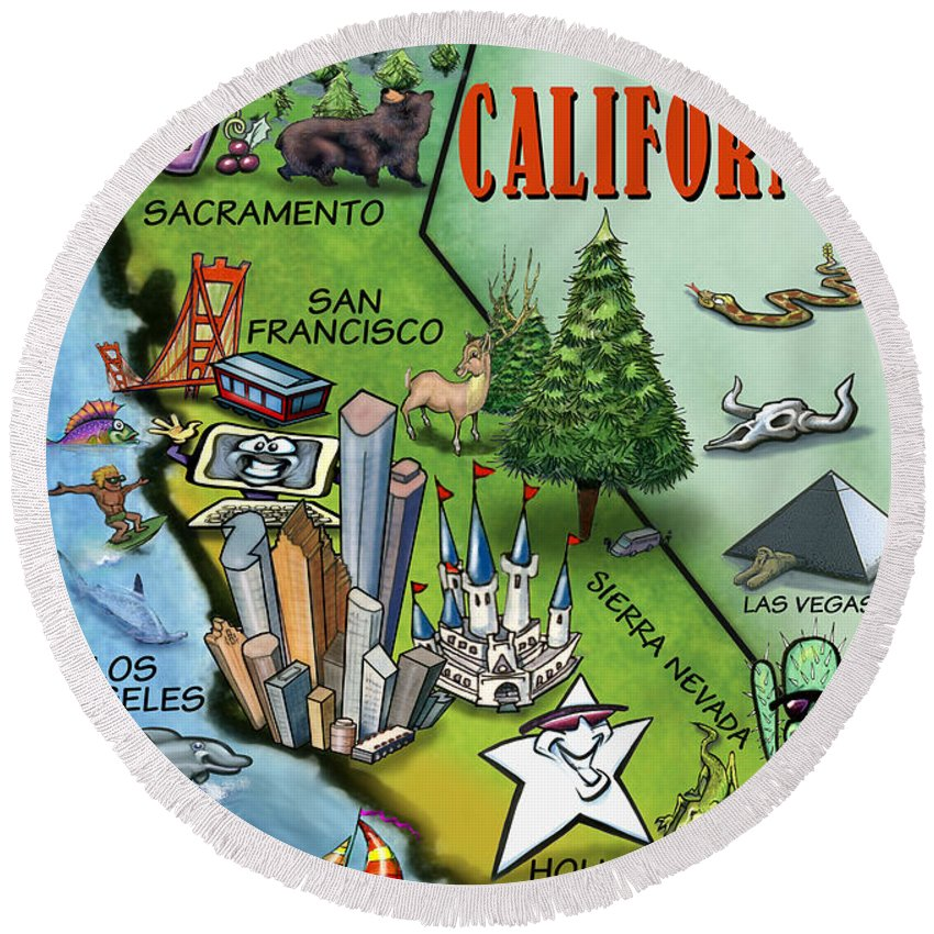 California Round Beach Towel featuring the digital art California Cartoon Map by Kevin Middleton