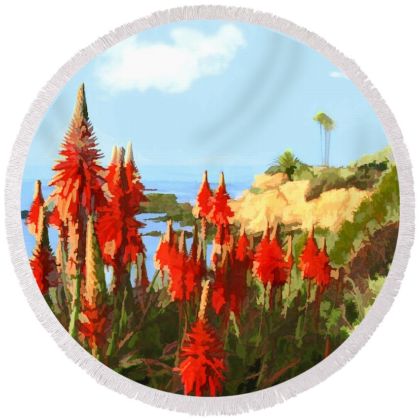 Ocean Round Beach Towel featuring the painting California Coastline With Red Hot Poker Plants by Elaine Plesser
