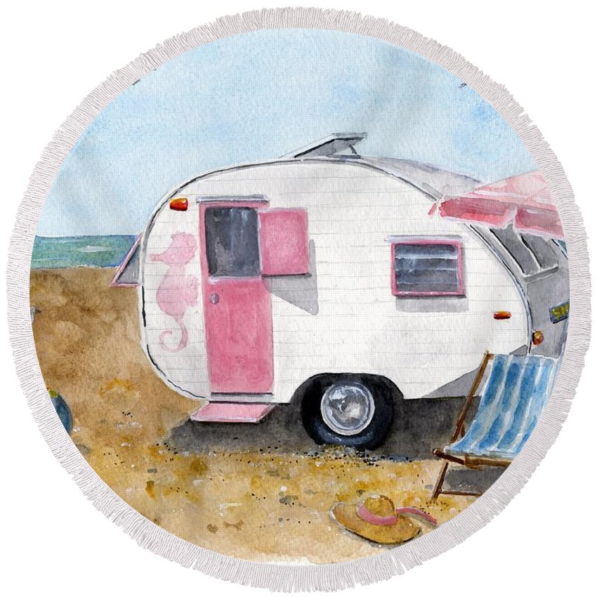 Original Watercolor Round Beach Towel featuring the painting California Dreamin' by Sheryl Heatherly Hawkins