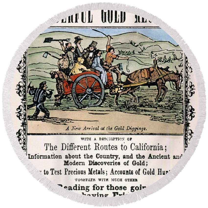 1849 Round Beach Towel featuring the painting California Gold Rush Guide by Granger
