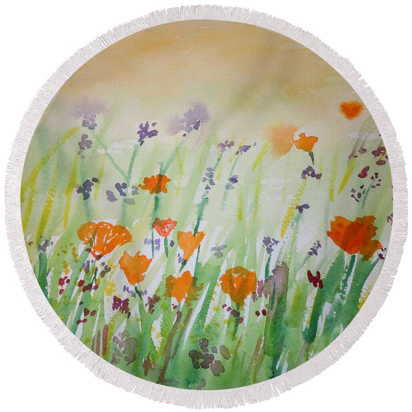 Poppies Round Beach Towel featuring the painting California Poppies by Vicky Kasparian