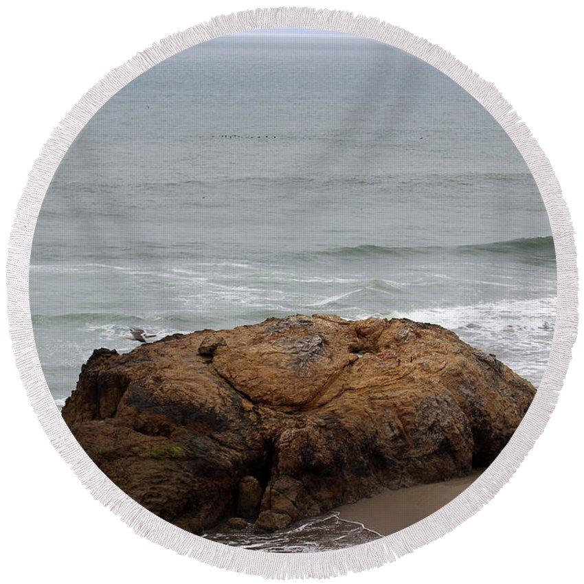 California Round Beach Towel featuring the photograph California Rock by Becca Buecher