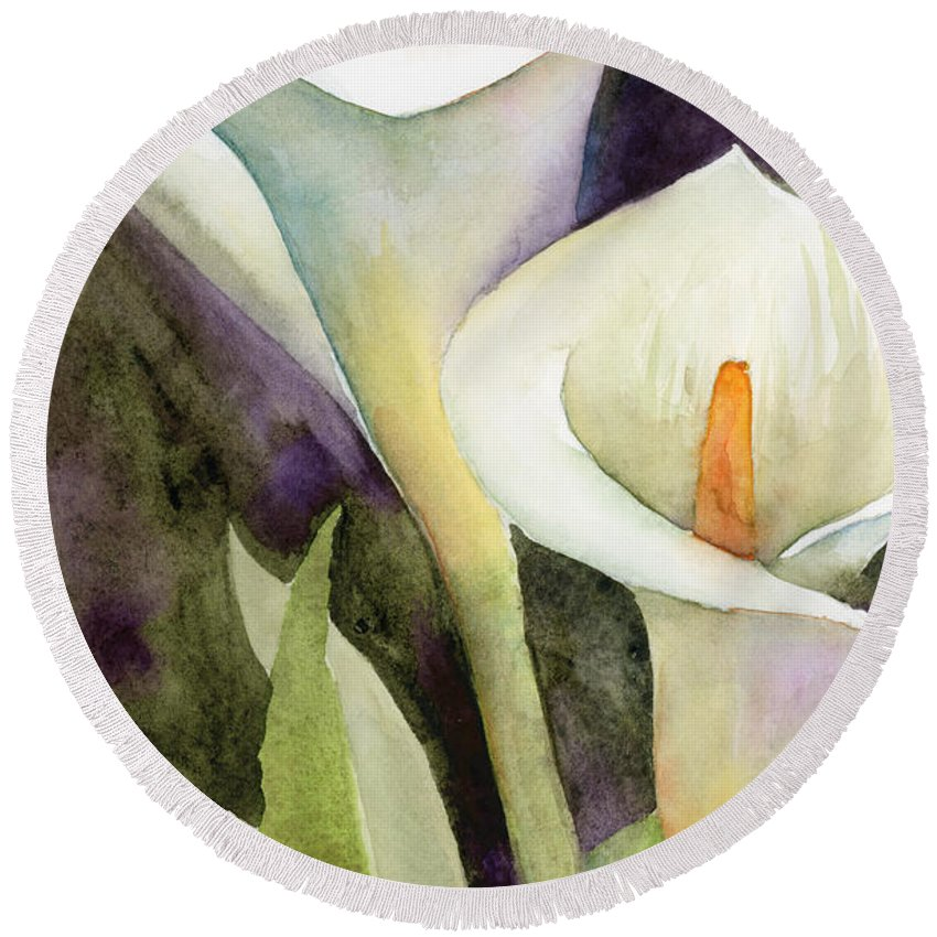 Zantedeschia Round Beach Towel featuring the painting Calla Lilies by Amy Kirkpatrick