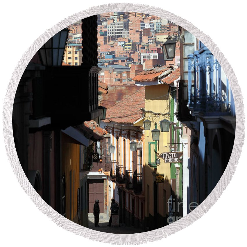 Bolivia Round Beach Towel featuring the photograph Calle Jaen La Paz by James Brunker
