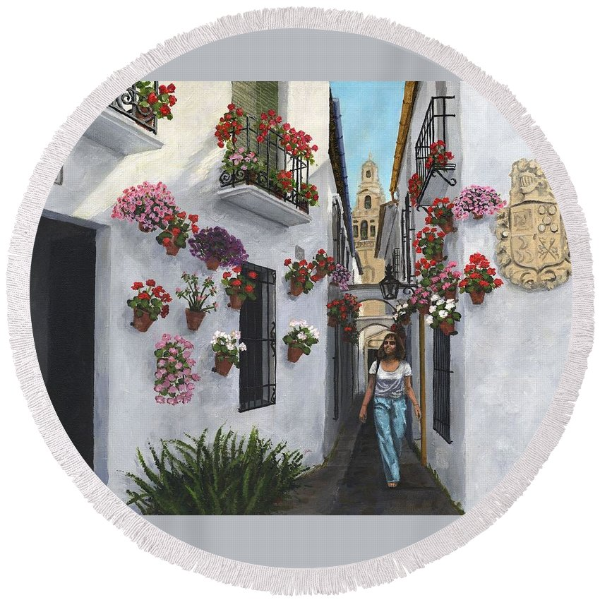 Landscape Round Beach Towel featuring the painting Calleje De Las Flores Cordoba Spain by Richard Harpum