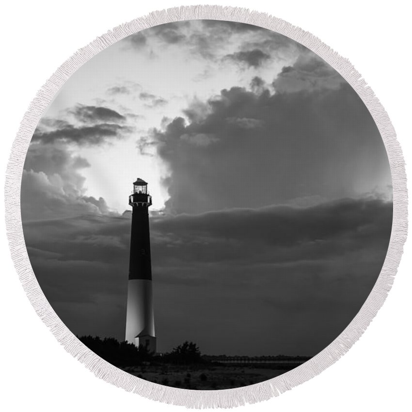 Barnegat Lighthouse Round Beach Towel featuring the photograph Calm Before The Storm by Michael Ver Sprill
