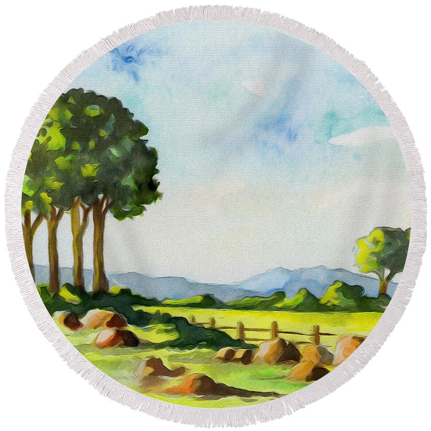 Trees Round Beach Towel featuring the painting Calm Day by Anthony Mwangi