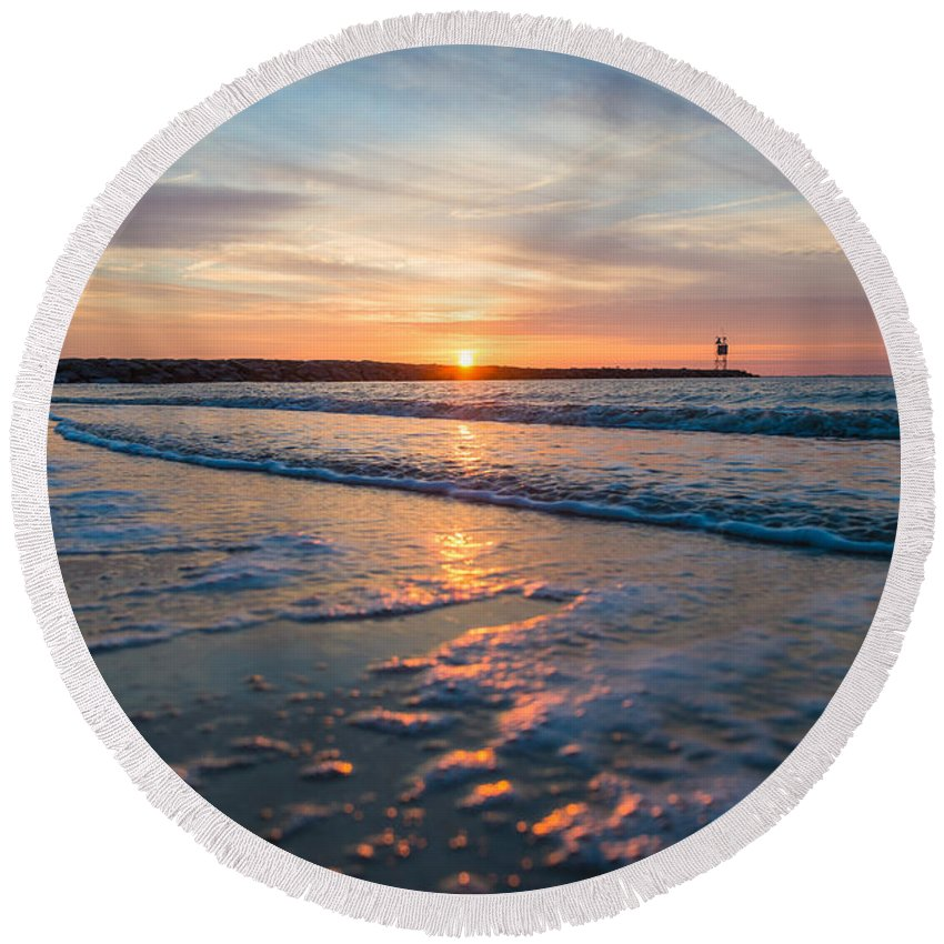 New Jersey Round Beach Towel featuring the photograph Calm by Kristopher Schoenleber