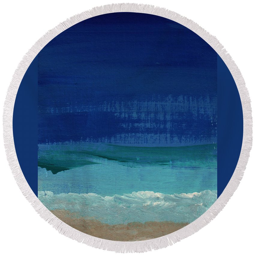Abstract Art Round Beach Towel featuring the painting Calm Waters- Abstract Landscape Painting by Linda Woods