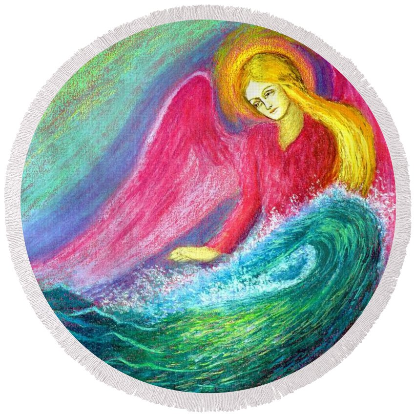 Love Round Beach Towel featuring the painting Calming Angel by Jane Small