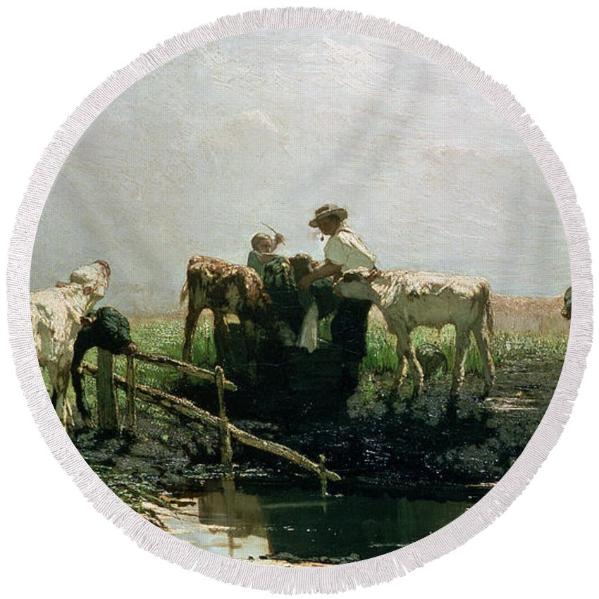 Hague School Round Beach Towel featuring the painting Calves At A Pond, 1863 by Willem Maris