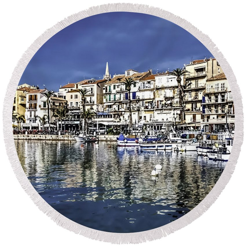 Architecture Round Beach Towel featuring the photograph Calvi by Maria Coulson