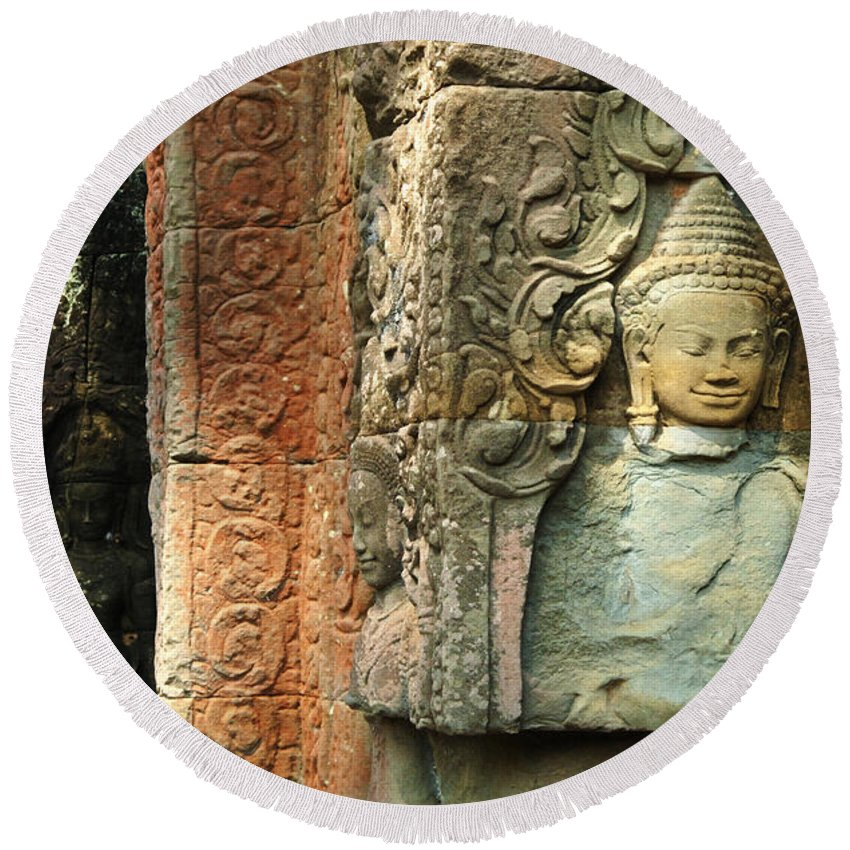 Travel Round Beach Towel featuring the photograph Cambodia Angkor Wat 1 by Bob Christopher