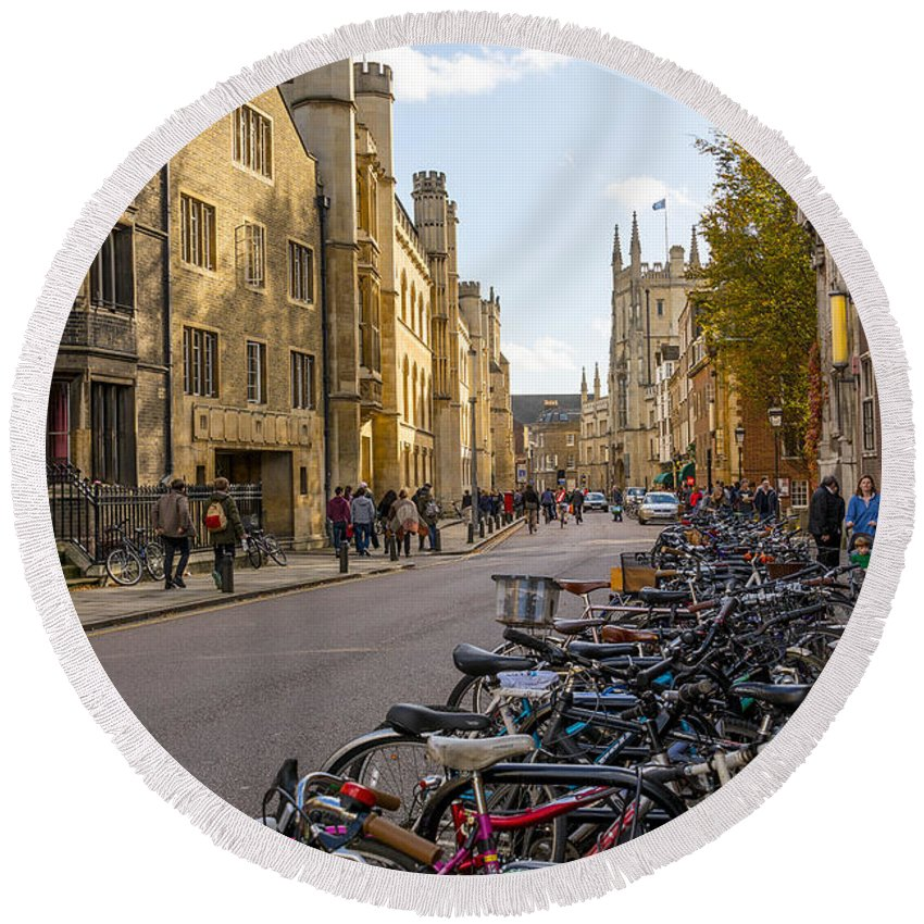 Active Round Beach Towel featuring the photograph Cambridge by Svetlana Sewell