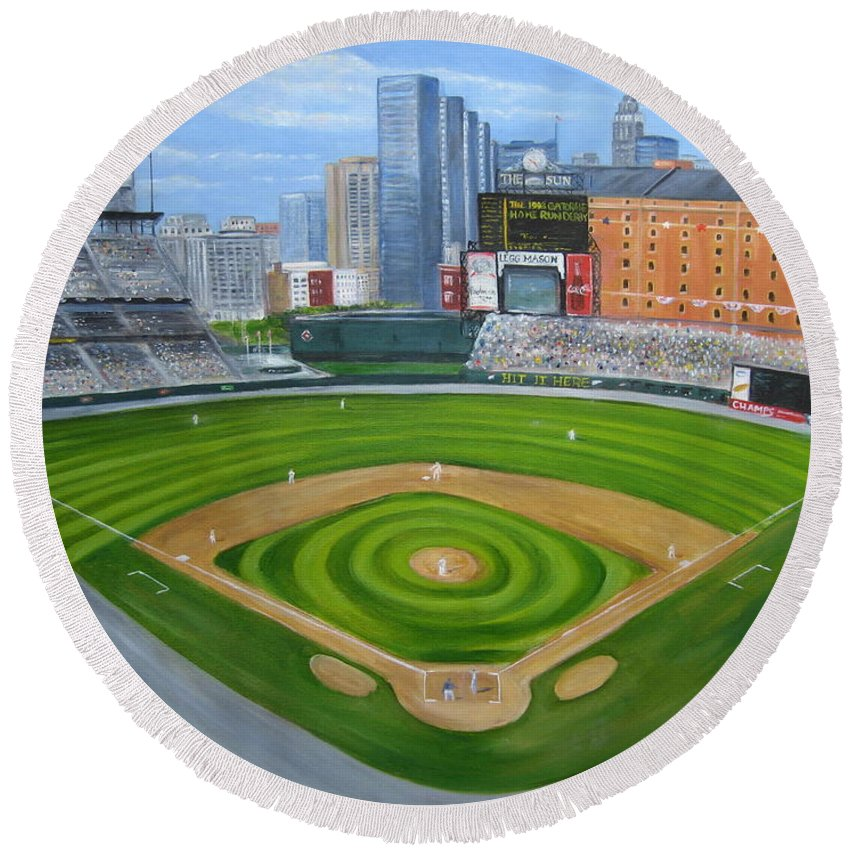 Camden Yards Round Beach Towel featuring the painting Camden Yards by Laura Corebello