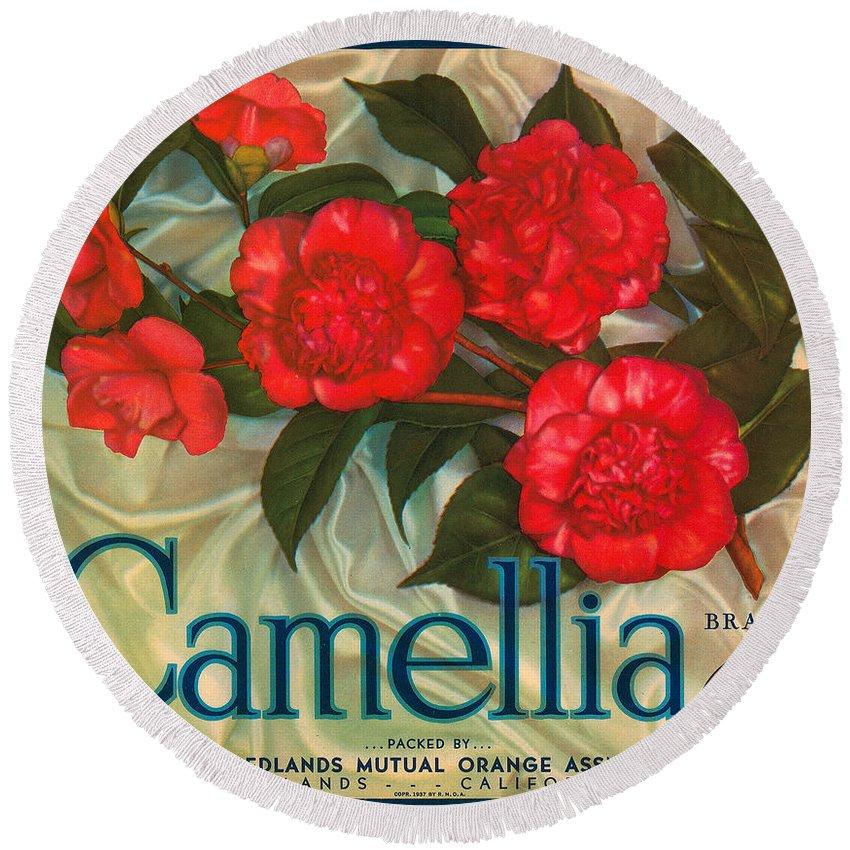 Camellia Crate Label Round Beach Towel featuring the digital art Camellia Crate Label by Label Art