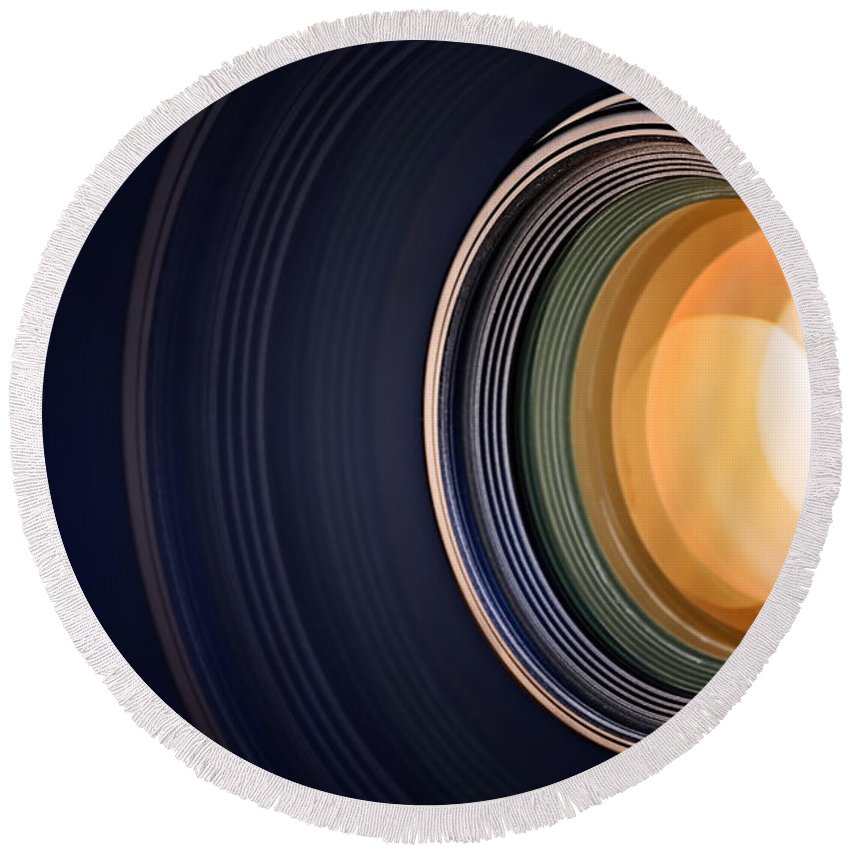 Lens Round Beach Towel featuring the photograph Camera Lens Background by Johan Swanepoel