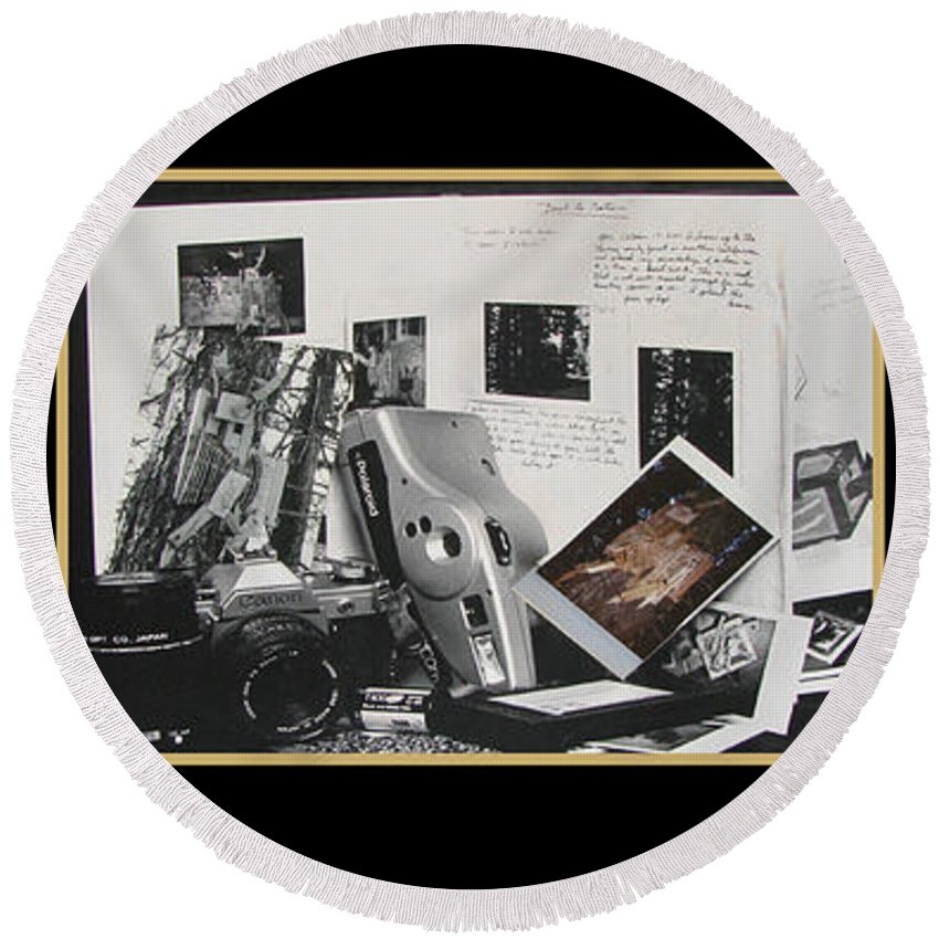 Camera Round Beach Towel featuring the photograph Camera Timeline Of A Photographer by Peter Piatt