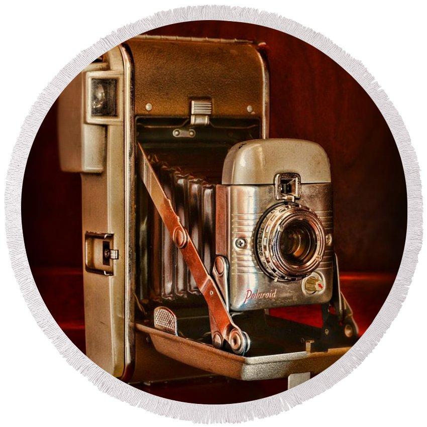 Paul Ward Round Beach Towel featuring the photograph Camera - Vintage Polaroid Land Camera 80 by Paul Ward
