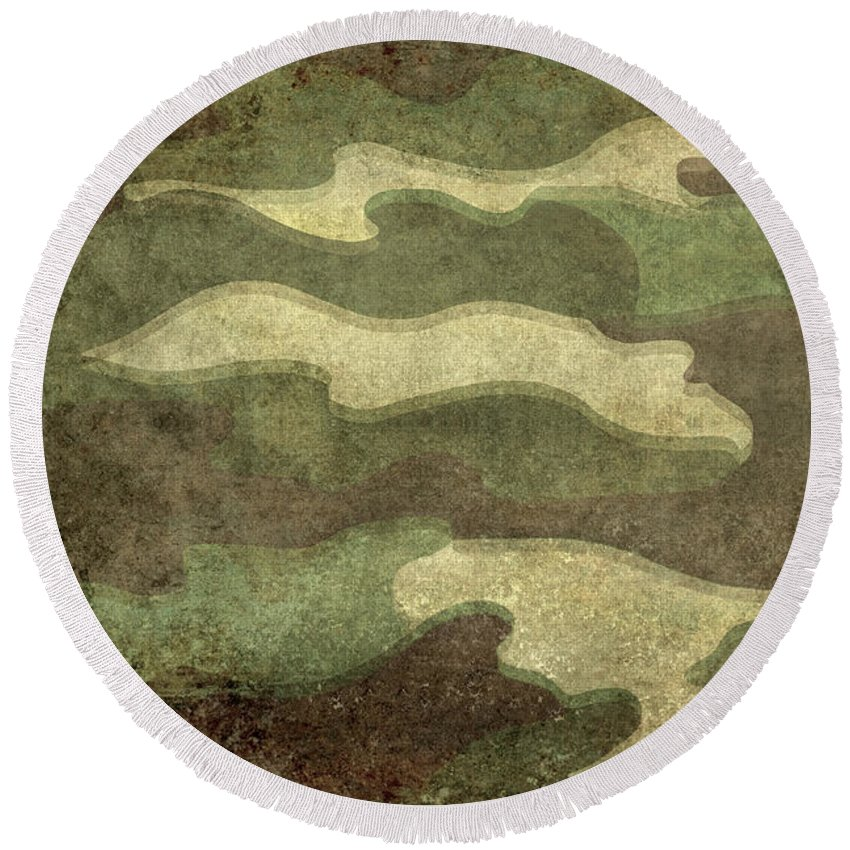 War Round Beach Towel featuring the digital art Camo Distressed Hard Version by Bruce Stanfield