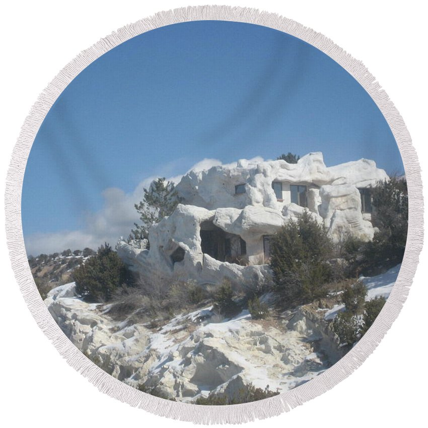 Camouflaged Round Beach Towel featuring the photograph Camouflaged Home by Dotti Hannum