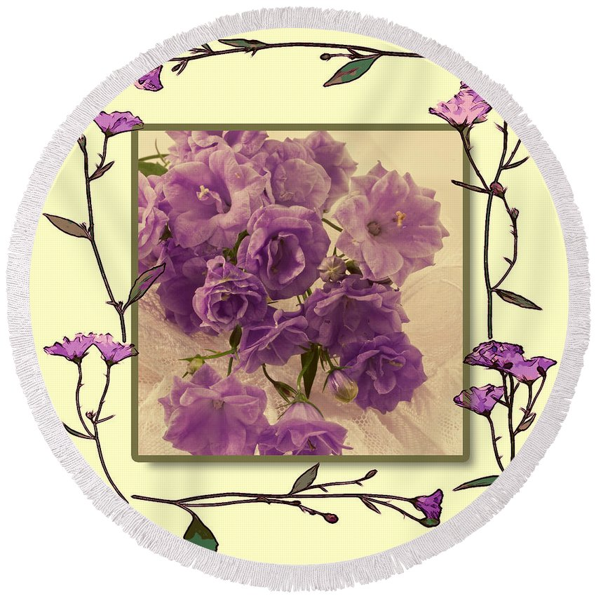 Purple Campanula Round Beach Towel featuring the photograph Campanula Framed With Pressed Petals by Sandra Foster