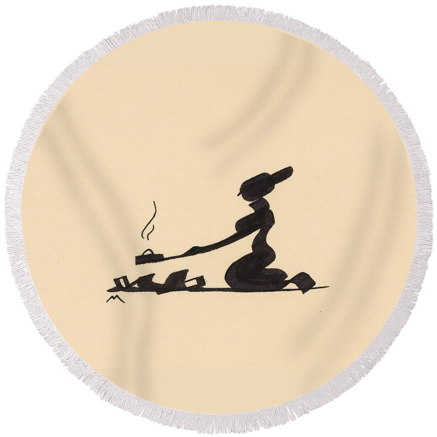 Woman Round Beach Towel featuring the drawing Campfire by Vince MacDermot