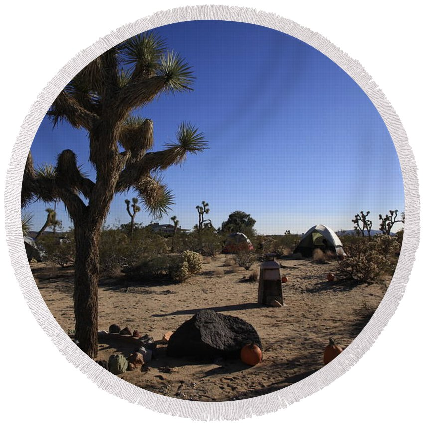 Desert Round Beach Towel featuring the photograph Camping In The Desert by Nina Prommer