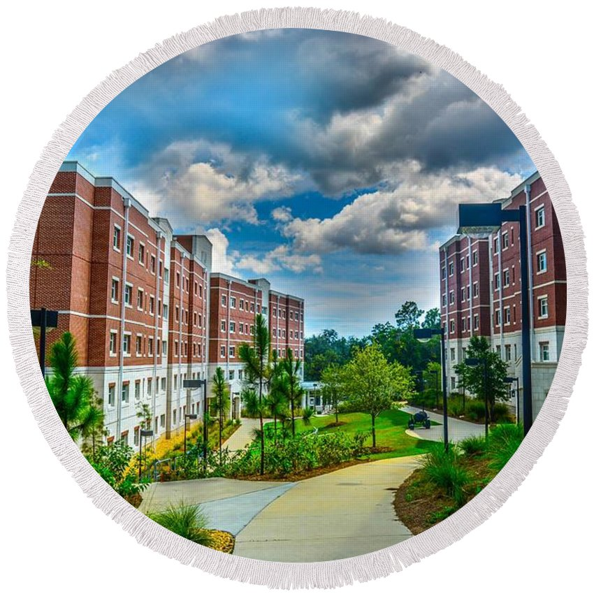 Uwf Round Beach Towel featuring the photograph Campus Life by Jon Cody