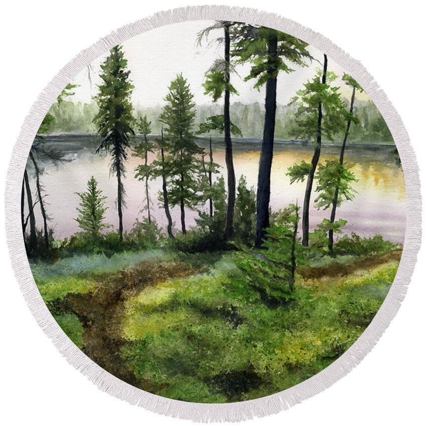 Canada Round Beach Towel featuring the painting Canada Morning by Mary Tuomi