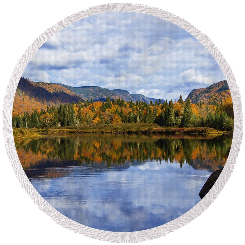Laurentian Round Beach Towel featuring the photograph Canadian Autumn by Mircea Costina Photography